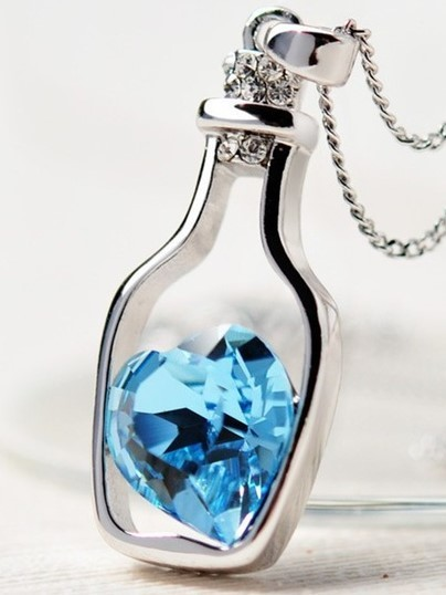 """Jewelry/Necklace ~""""Essential Oil Bottle"""" Shaped Necklace with Blue Crystal Heart"""