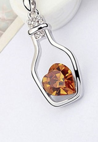 """Jewelry/Necklace ~ """"Essential Oil Bottle"""" Shaped Necklace with Brown Crystal Heart"""