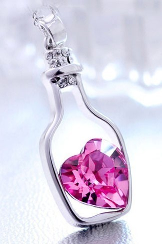 "Jewelry/Necklace ~ ""Essential Oil Bottle"" Shaped Necklace with Pink Crystal Heart"