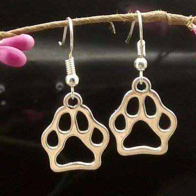 Jewelry/Earrings ~ Paw Print Earrings - Silver Tone