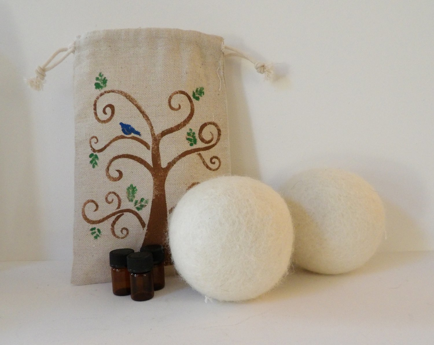 Natural Home ~ Premium 100% Wool Dryer Balls (Set of 2) w/Reusable Handpainted Bag & 3 sample Essential Oils