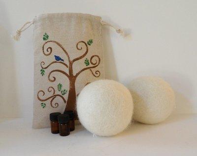 Natural Home ~ Premium 100% Wool Dryer Balls (Set of 2) w/Reusable Handpainted Bag & 3 sample Essential Oils