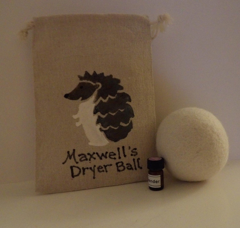 Maxwell & Friends ~ Premium 100% Wool Dryer Ball (1) w/Reusable Handpainted Hedgehog Bag & 1 sample Pure Therapeutic Grade Lavender Oil