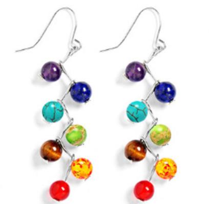 Jewelry/Earrings ~ 7 Chakra Stone Dangle Earrings
