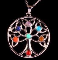 Jewelry/Pendant ~ 7 Chakras Stone Tree of Life Healing Pendant - Round