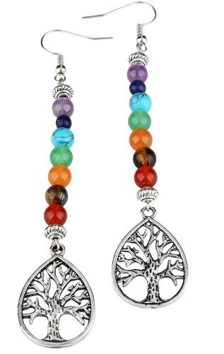 Jewelry/Earrings ~ 7 Chakra Stone Dangle Earrings with Tree of Life