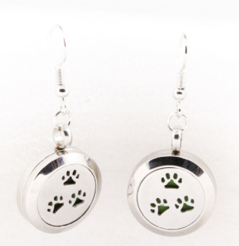 Jewelry/Earrings ~ Aromatherapy Diffuser Earrings - Paw Prints