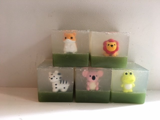 Soap - Embedded Eraser Soap ~ Olive Oil with Lavender Chamomile & Hint of Lime Essential Oils