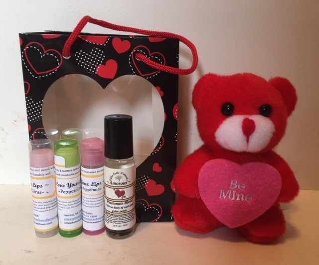 "Holidays Naturally ~ Valentine's Gift Bag ~ w/3 Lip Balms, Small Stuffed Animal & ""Amorous"" or Lavender Rollerball"