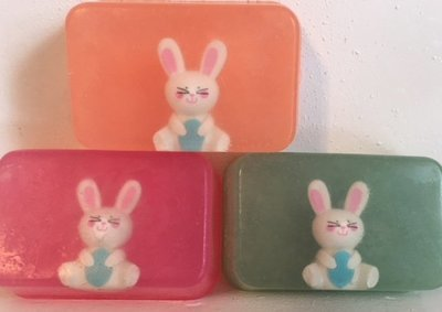 Soap - Embedded Eraser Soap (one soap) ~ Bunny - Castile with Lavender Chamomile & Hint of Lime Essential Oils