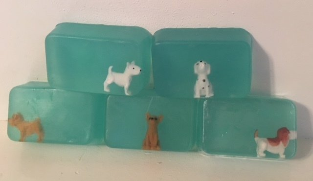 Soap - Embedded Animal Soap (one soap) ~ Dog - Castile with Lavender and Lemon (with charm)