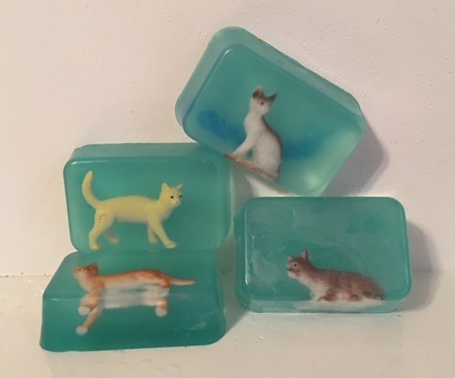 Soap - Embedded Animal Soap (one soap) ~ Cat - Castile with Lavender and Lemon