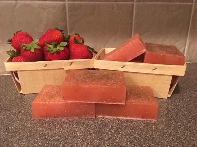 Soap ~ Strawberry Seed Soap ~ w/Shea Butter & Oats ~ 4 oz. - one bar