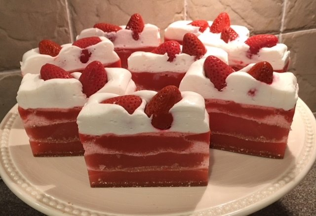 Soap ~ Strawberry Shortcake Soap Slice ~ w/Shea Butter, Oatmeal and Kaolin Clay 6 oz. each
