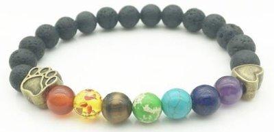 Jewelry/Bracelet ~ 7 Chakras Lava Stone Diffuser Bracelet w/Paw & Heart Charms