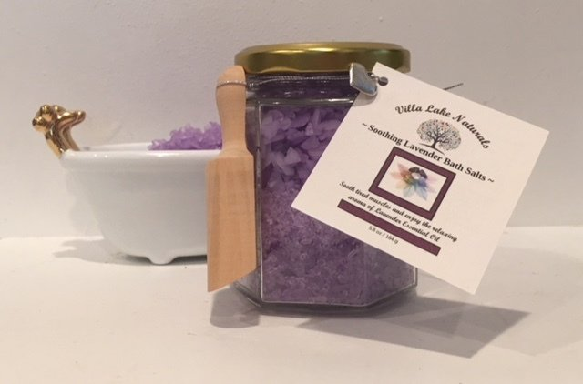 Bath Salts ~ Choose Essential Oil or Blend - Hexagonal Glass Jar with Wooden Scoop 5.8 oz.