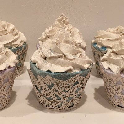 Bath Fizzy ~ Large Cupcake w/Champagne Bubble Frosting & Paper Lace Wrapper - choose essential oils 8.15 oz