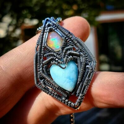Fire Opal (Welo) with Larimar