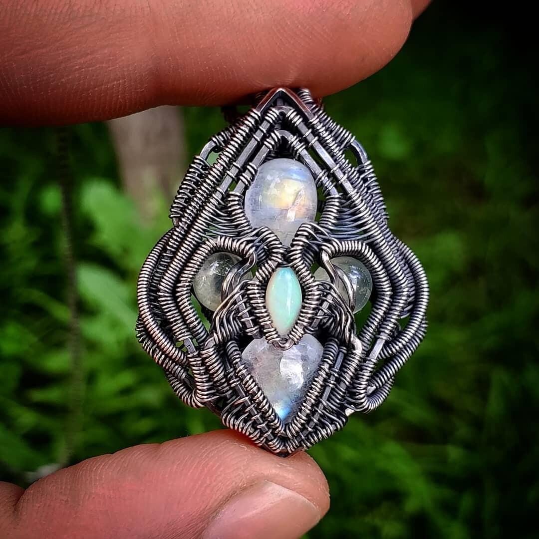 Moonstone, Opal & Prehnite Pendant