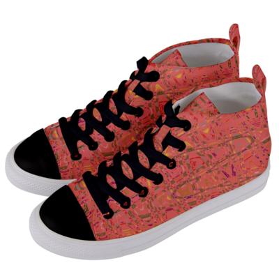 Women's Living Coral Print Mid Top Sneakers