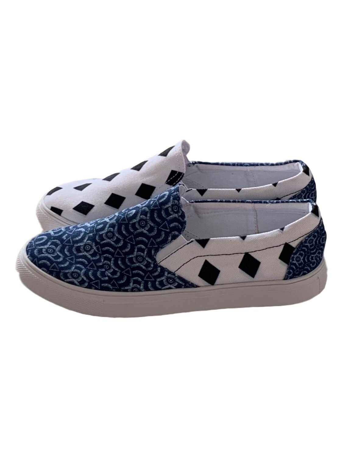 Women's Canvas Black Diamonds & African Print Slip Ons