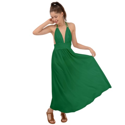 Halter Tie Backless Forest Green Dress