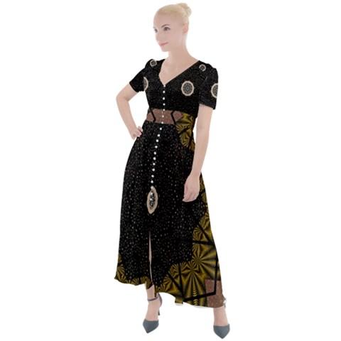 Button Up short Sleeve Multi Print Long Dress