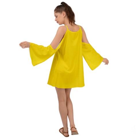 Boho Dress Yellow Kimono Sleeve