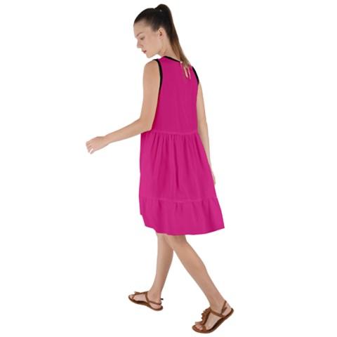 Hot Pink Frilled Swing Dress