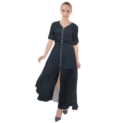 Black Waist Tie Boho Maxi Dress