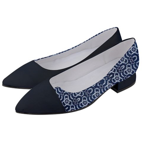Women's Black & African Print Block Shoes
