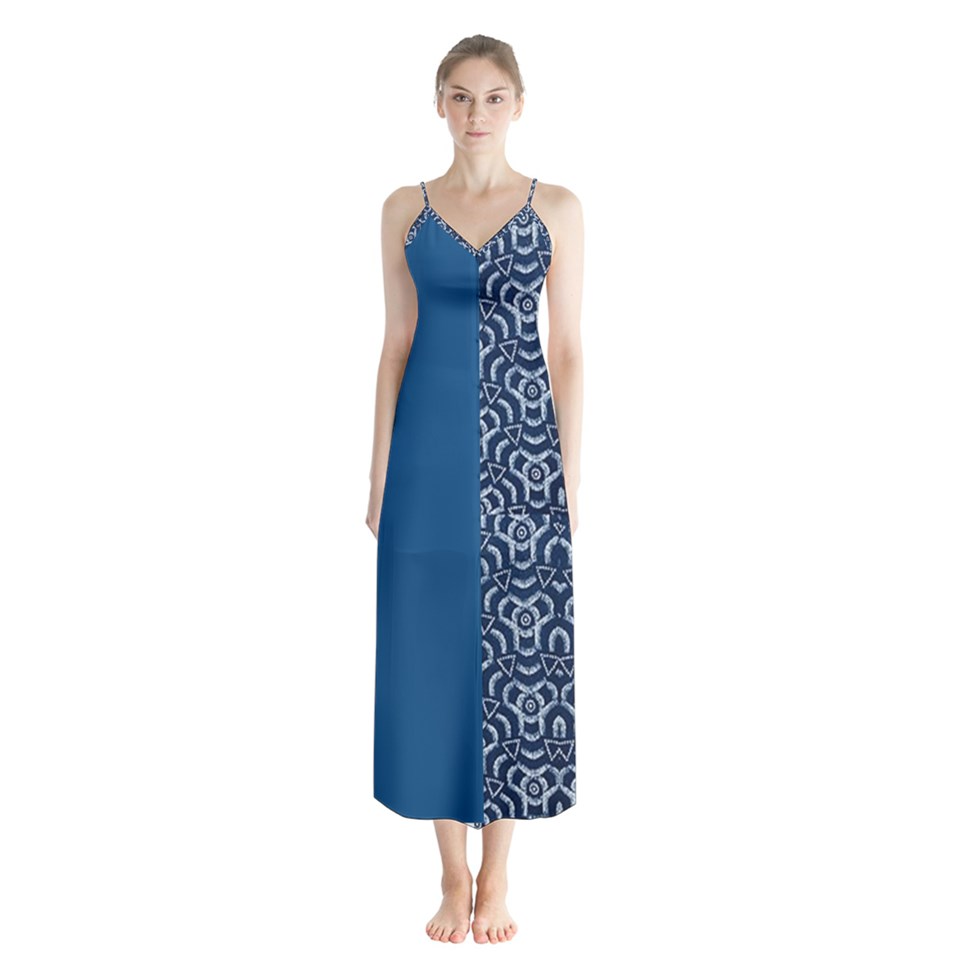 Button up Chiffon African Print and Classic Blue Maxi.