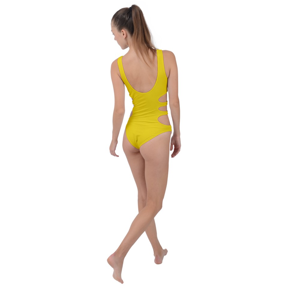 Yellow Side Cut Out Swimsuit