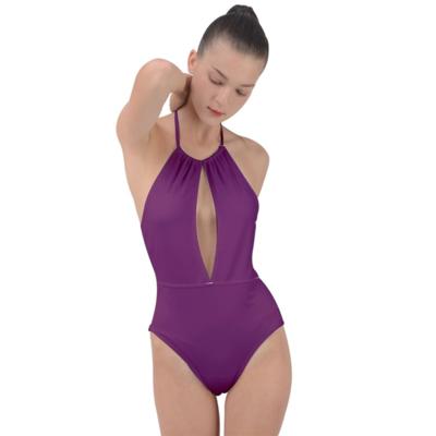 Byzantine Plunge Cut Halter Swimsuit