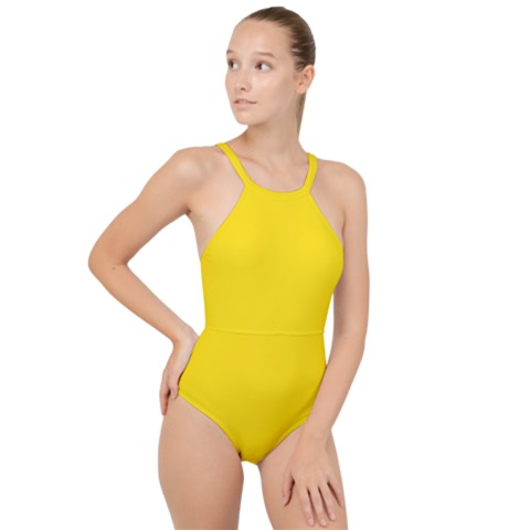 Yellow High Neck One Piece Swimsuit