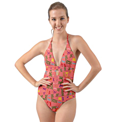 Living Coral Halter Cut Out One Piece Swimsuit