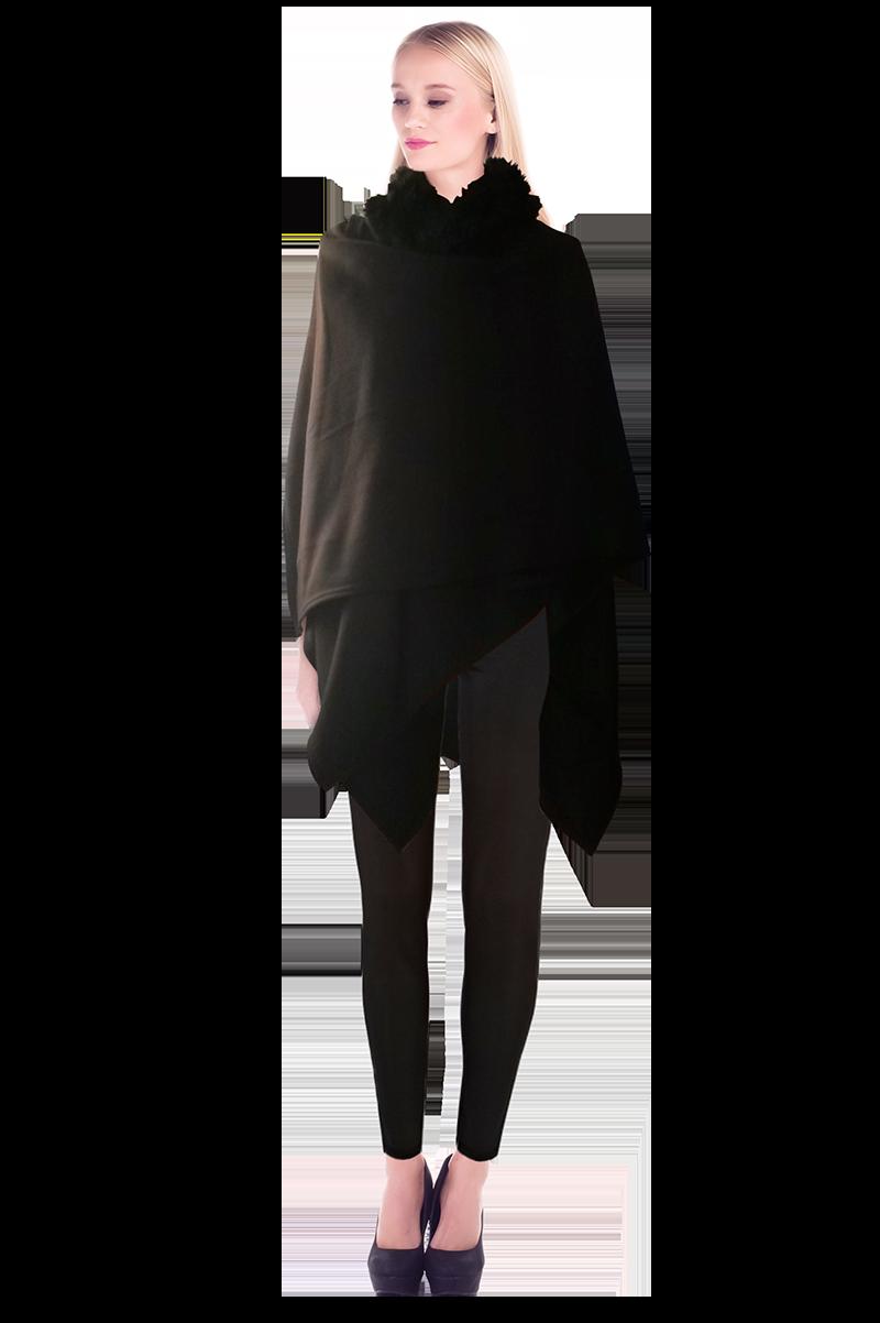 Black Fleece Wrap Over Cape With Fur