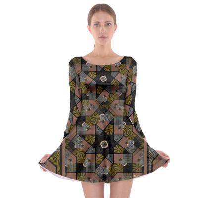 Multi Print Long Sleeves Skater Dress