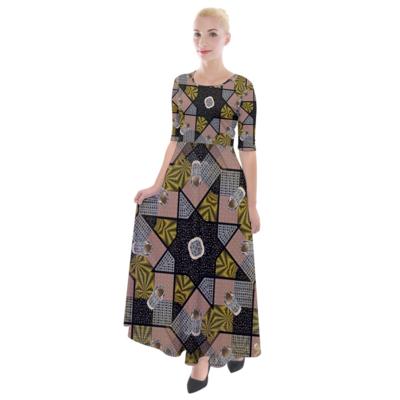 Multi Print Half Sleeves Maxi Dress