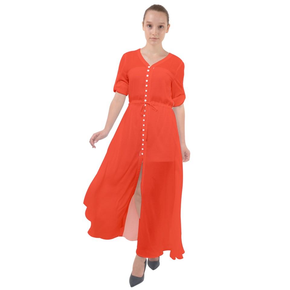 Solid Orange Waist Tie Boho Maxi