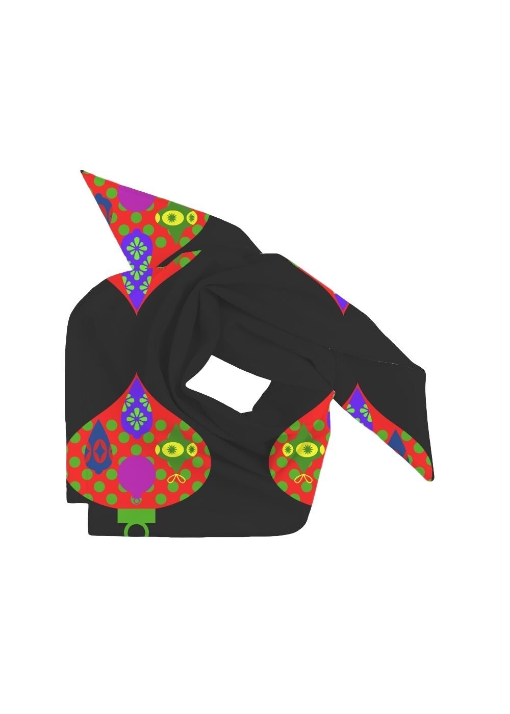 Mini Square Scarf Abstract Objects Black
