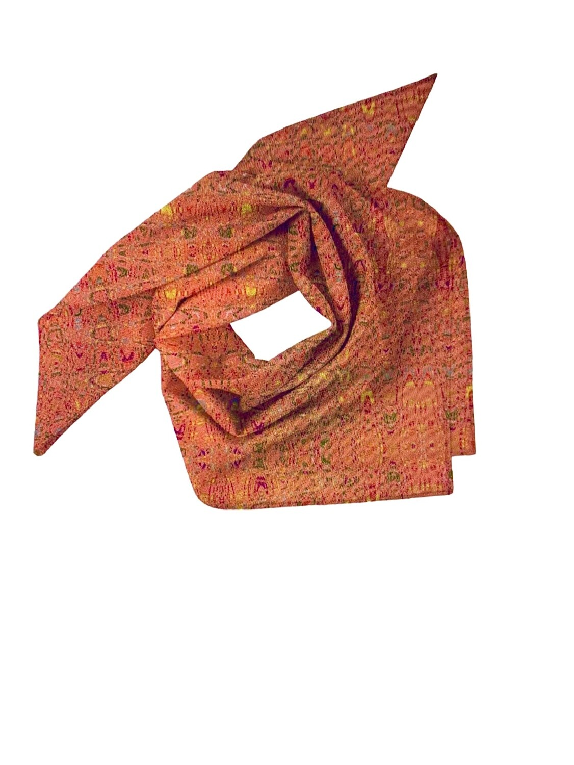 Mini Square Scarf Abstract Living Coral Print