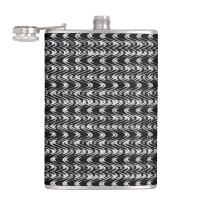 HIP FLASK BLACK & WHITE WEAVE PRINT