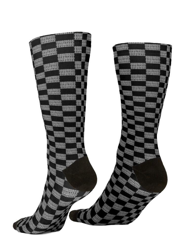 Black and White Knit Print Socks