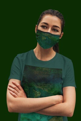 Green Tie and Dye Face Mask Black