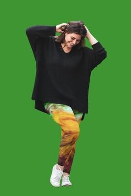 Green and Lemon Watercolour Leggings