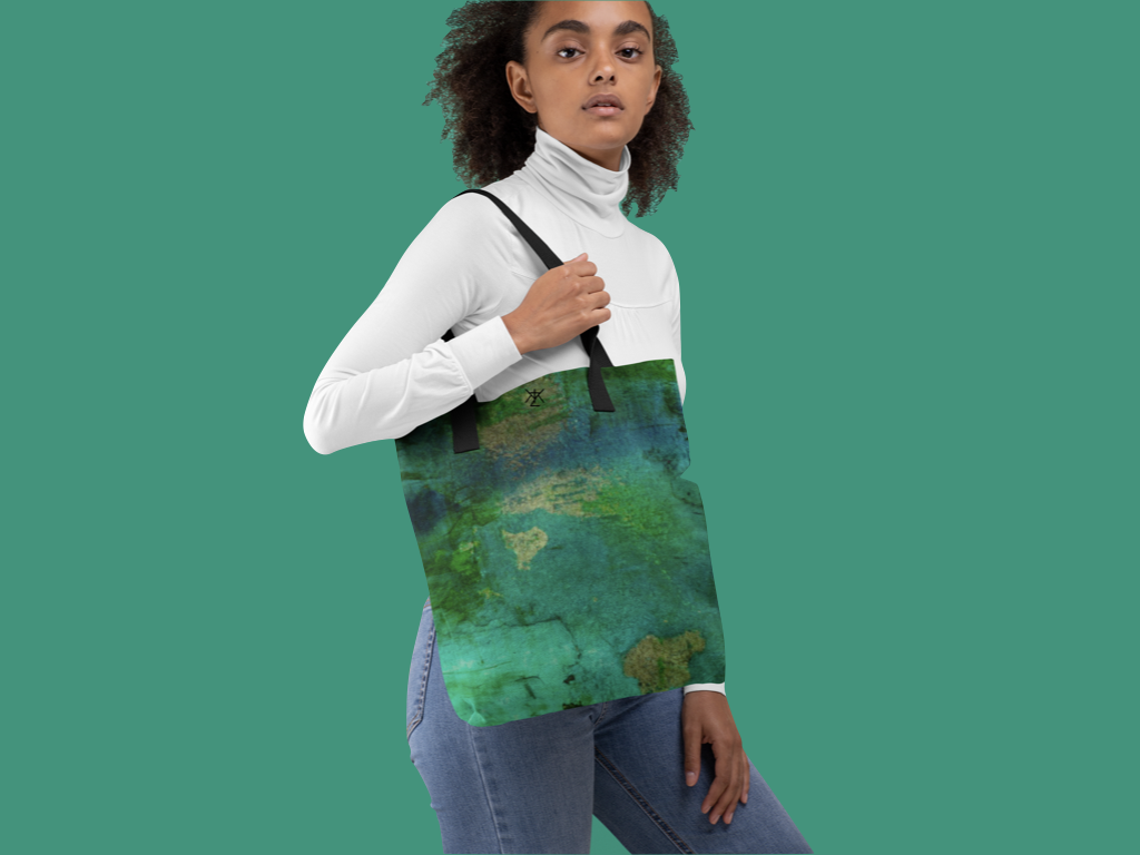 Green Tie and Dye Tote Bag
