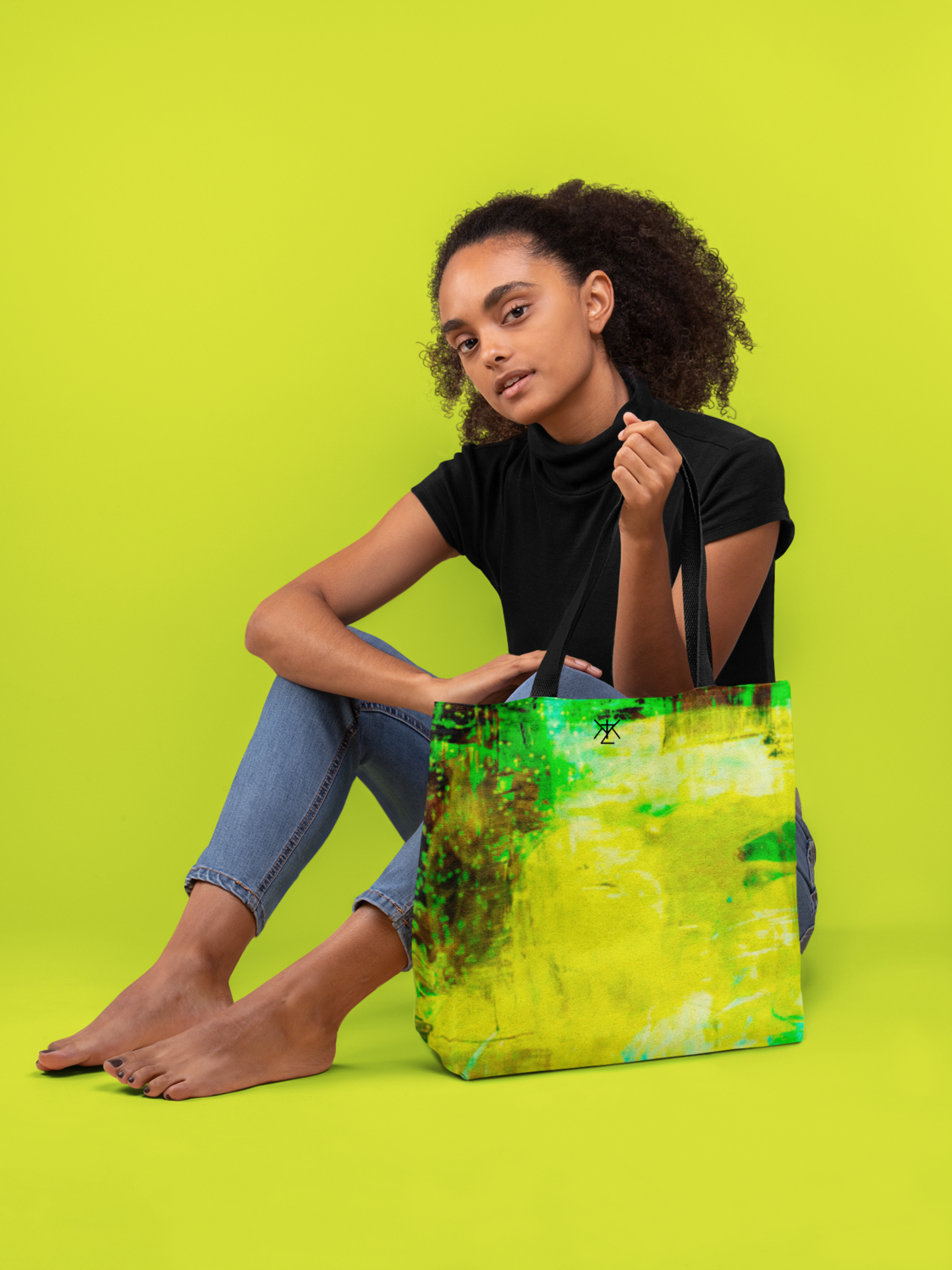 Lime Tie and Dye Tote Bag