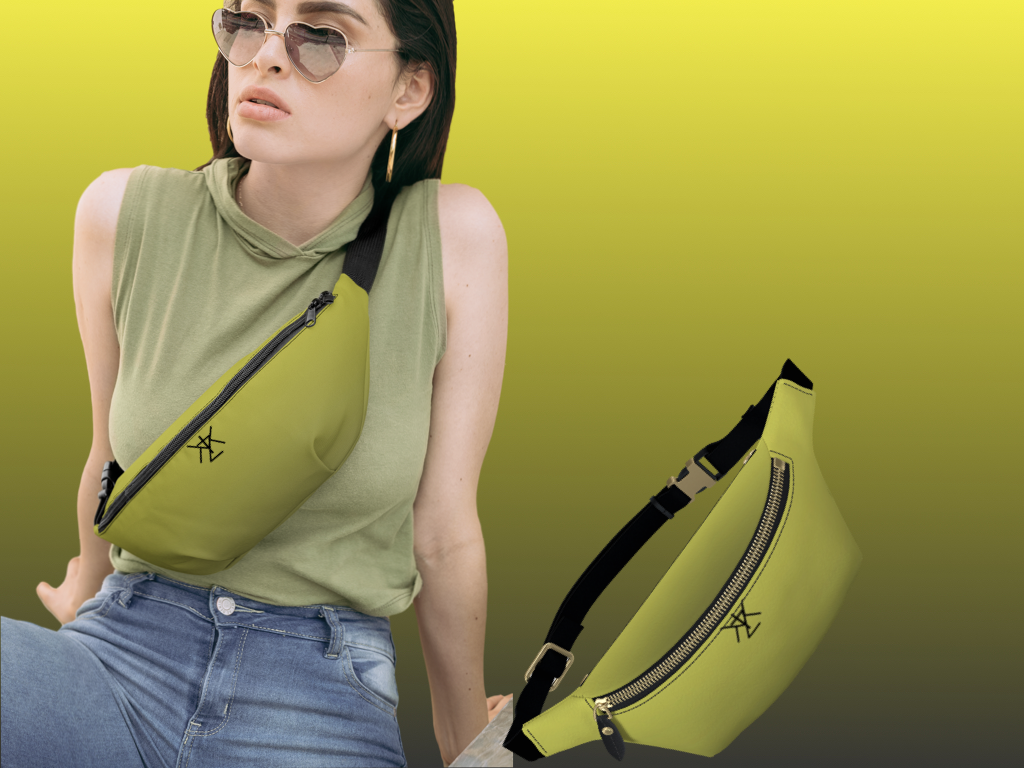 Yellow and Grey Gradient Leather Fanny Pack