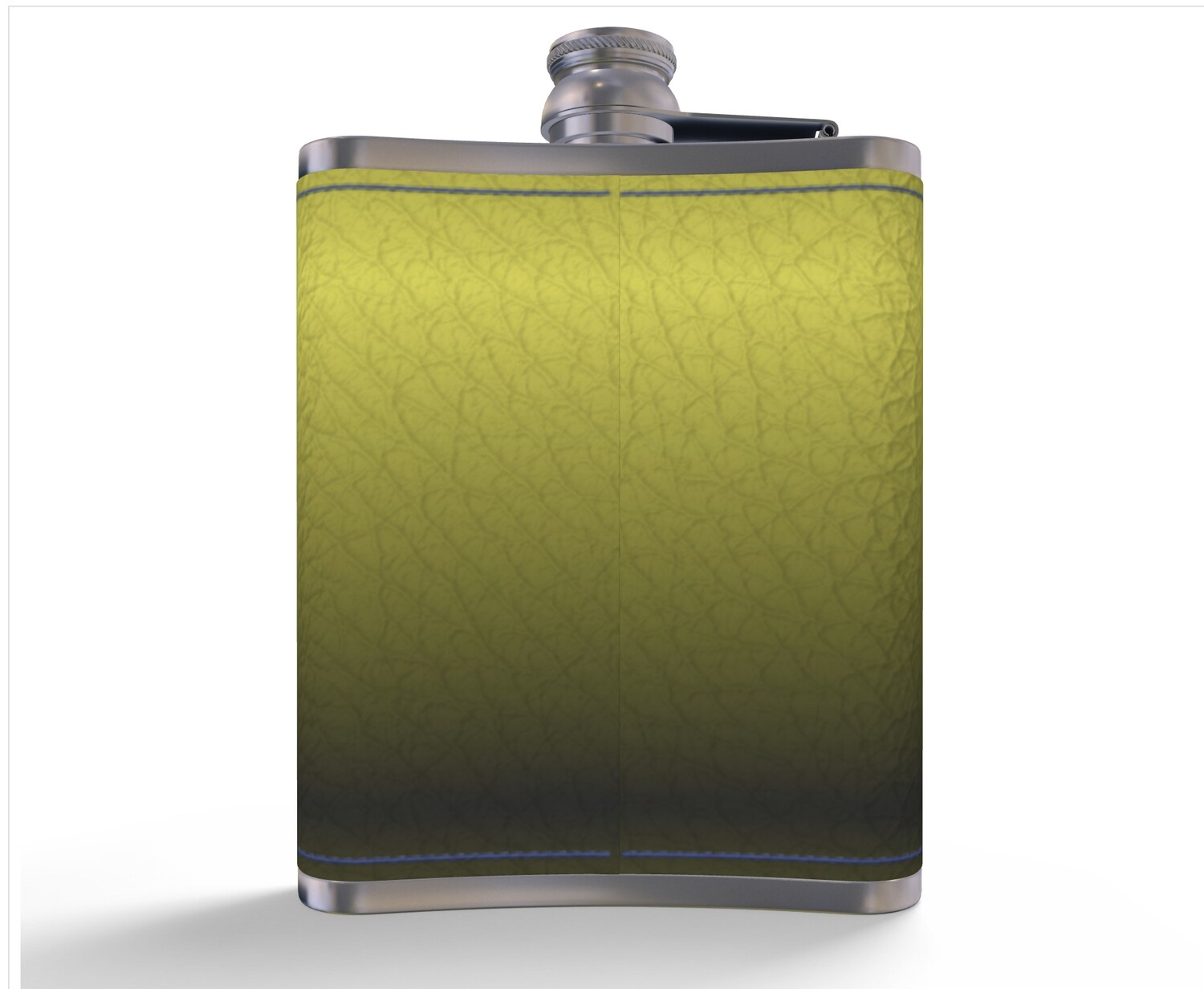#NEW LEATHER HIP FLASK YELLOW AND GREY